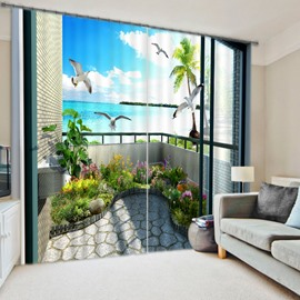 3D Seagulls and Flowers with Seaside Balcony Printed Custom Curtain for Living Room Curtain