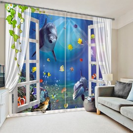3D Dolphin Playing with Goldfishes Underwater World Printed Custom Curtain