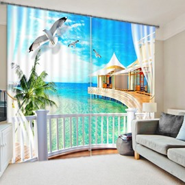 3D White Doves and Sea House Printed Wonderful Beach Scenery Polyester Blackout Curtain
