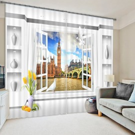 3D Window Scenery Big Ben Printed Polyester Two Pieces Decorative Custom Curtain