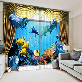 3D Lifelike Undersea World Printed Blackout and Decoration Custom Curtain for Living Room