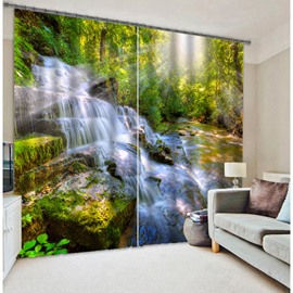 3D Wonderful Waterfall and Stones with Sunny Printed Natural Scenery Custom Living Room Curtain