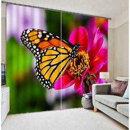 3D Beautiful Butterfly and Red Rose Printed Decorative and Blackout Custom Curtain