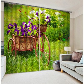 3D Colorful Flowers Print Two Panels Curtain