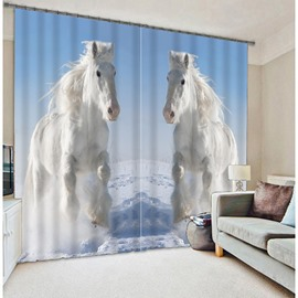 3D Galloping White Horses Printed Animal Scenery Blackout Custom Curtain