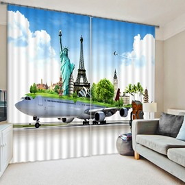 Special Airplane Travelling Printing 3D Blackout Curtain