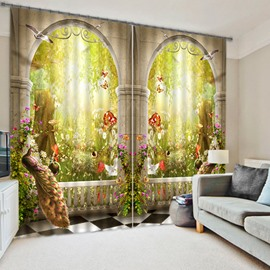 3D Symmetrical Peacock and Magic Garden Printed Bedroom Window Decorative Curtain