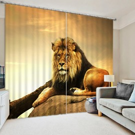 3D Fierce Lion King Printed Animal Style Decoration and Blackout Polyester Custom Curtain