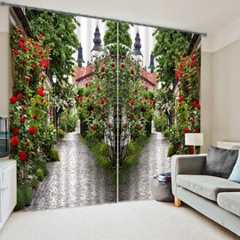 3D Symmetrical Roads with Red Rose Printed Custom 2 Panels Living Room Curtain