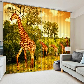 3D Giraffes and Green Trees Printed Thick Polyester 2 Panels Custom Curtain