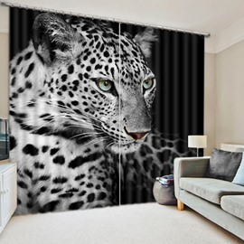 3D Wildlife Black and White Leopard Printed Animal Style Polyester Curtain