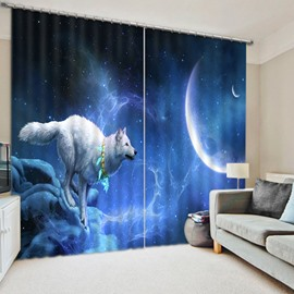 3D White Wolf Chasing the Moon Printed Animal Style Blackout Polyester Window Curtain