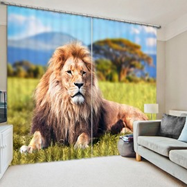 3D Vivid Majestic Lion Lying on the Grassland Printed Decorative and Blackout Curtain