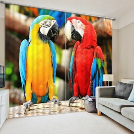 3D Lovely Couple Parrots Printed Bird Style 2 Panels Blackout Custom Curtain