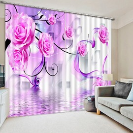 3D Purple Roses Printed Romantic Style Custom Blackout Curtain for Living Room