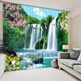 3D Waterfall Green Mountains Sunflowers and Cranes Scenery Printed Custom Living Room Curtain