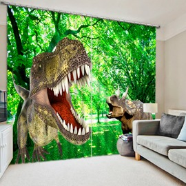 3D Ferocious Dinosaurs Printed Thick Polyester Custom 2 Panels Living Room 3D Curtain