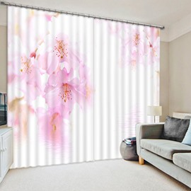 Bright Pink Peach Blossom Print 3D Blackout Curtain