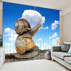 3D Snail Mother and Child Crawling Printed Blackout and Water-Proof Curtain