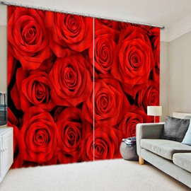 Decorative Full-Bloomed Red Roses Print 3D Blackout Curtain