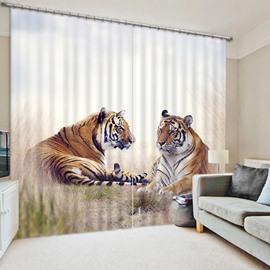 Unique Resting Tigers Wild Animal Printing 3D Curtain
