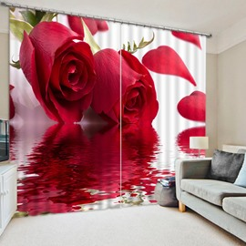 Modern and Romantic Beautiful Red Roses Printed Custom 3D Blackout Curtain