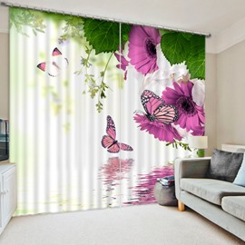 3D Purple Flowers and Colored Butterflies Printed Floral Style Decoration and Blackout Curtain