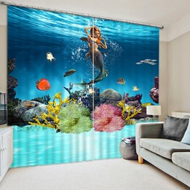 3D Beautiful Mermaid and Corals Swimming Printed Scenery Curtain Blackout and Decoration Curtain