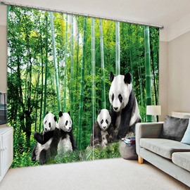 3D Cute Pandas and Bamboo Trees Printed Animal Style Decoration and Blackout Curtain