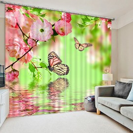 3D Beautiful Butterflies and Pink Peach Flowers on the Water Printed Blackout Curtain
