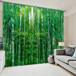 3D Flourishing Green Bamboos Printed Natural Scenery Blackout and Decoration Polyester Curtain