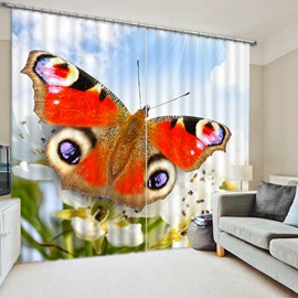 A Lifelike Colorful Butterfly Printing 3D Blackout and Dust-Proof Living Room Curtain