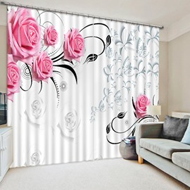 Concise Charming Pink Roses Printed Living Room Custom 3D Curtain