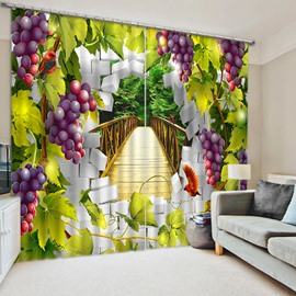 Purple Grapes Vine Print 3D Blackout Curtain