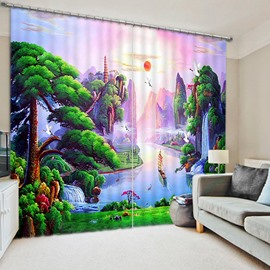 Mountains and Flowing Water Print 3D Blackout Curtain