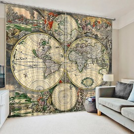 Antique World Map Printing Artistic and Creative Living Room 3D Blackout Curtain