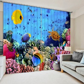 3D Golden Fishes Turtle and Corals Printed Underwater World Blackout and Decorative Curtain