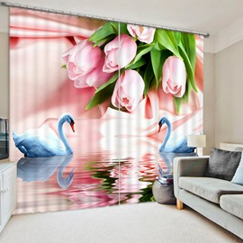 Couple White Swans Fall in Love Print 3D Blackout Curtain