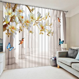 3D Printed Colorful Butterflies and Blooming Magnolia with Birds Decoration Room Curtain