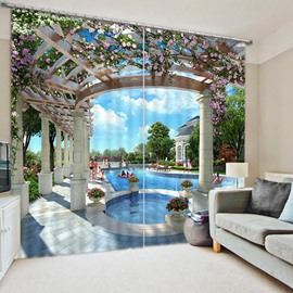 3D Flower House with Swimming Pool Printed Modern Style Custom Blackout Curtain