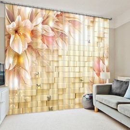 The Champagne Flowers in front of the Wall Print 3D Blackout Curtain