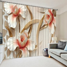 3D Craved White Peony Flowers Printed Polyester Custom Curtain for Living Room