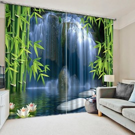 3D Spectacular Waterfalls and Green Bamboos Printed Polyester Custom Curtain