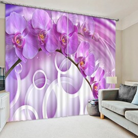 Beautiful Purple Phalaenopsis and White Circles Printed Custom 3D Curtain