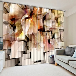 Three-Dimensional Squares and Flower Print 3D Blackout Custom Curtain for Living Room