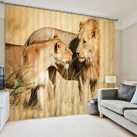 Mother of Lion and Her Baby 3D Vivid and Creative Decorative and Blackout Curtain