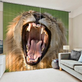3D Yawning and Soaring Lion Printed Lively Patterns 2 Pieces Living Room Blackout Curtain