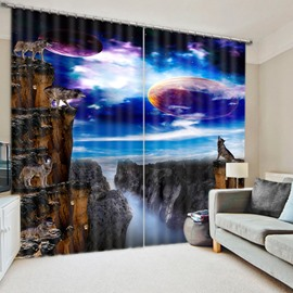 Wolves Howling at Night During the Full Moon Print 3D Blackout Custom Curtain