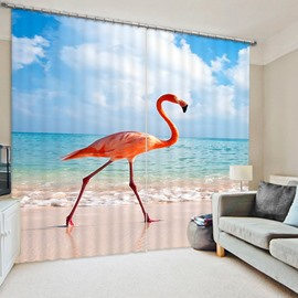 A Flamingo Walking on the Beach Print 3D Blackout Curtain