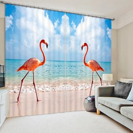 3D Two Symmetrical Flamingos on the Beach Printed Wonderful Scenery 3D Curtain
